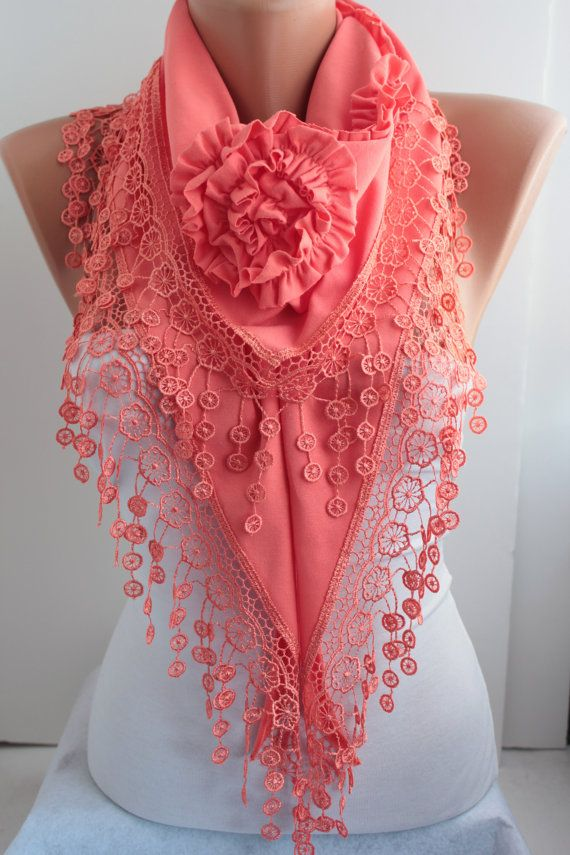 NEW Coral Scarf Shawl Scarf Lace Scarf  Triangle Scarf Cotton Scarf  Honeysuckle Cowl with Lace Edge - Women's Fashion Accessories  DIDUCI