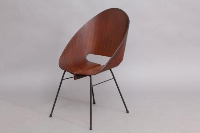 Italian Molded Plywood Stacking Chair, 1950 for sale at Pamono