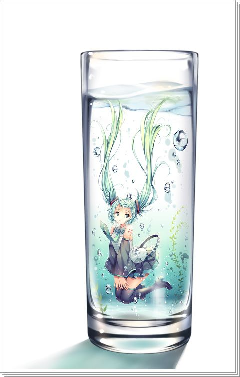 "Illustration of ""TID"" / ""in the glass ... 2013.04.09"" [pixiv]"