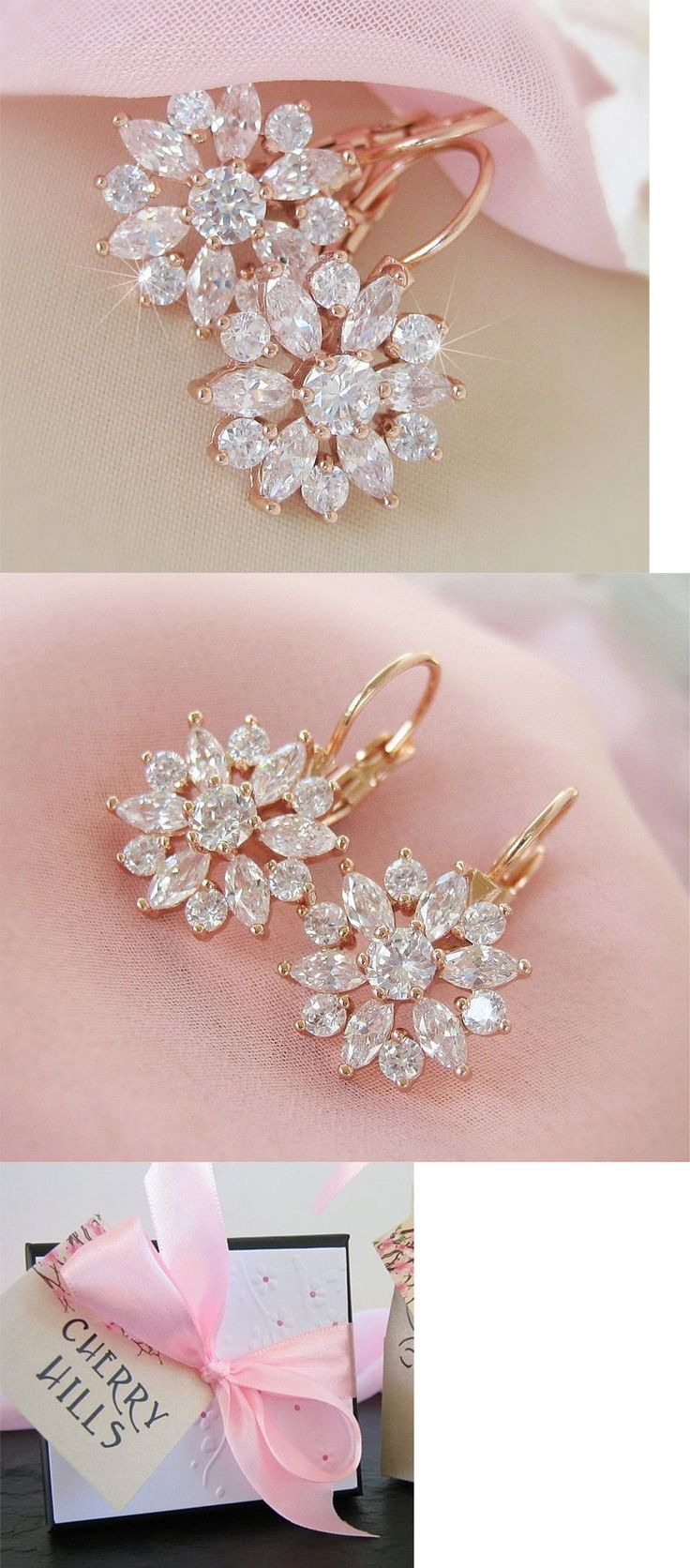 Bridal Jewelry 163552: Leverback Bridal Earrings Rose Gold Cubic Zirconia Flower *Boutique Quality* -> BUY IT NOW ONLY: $30 on eBay!