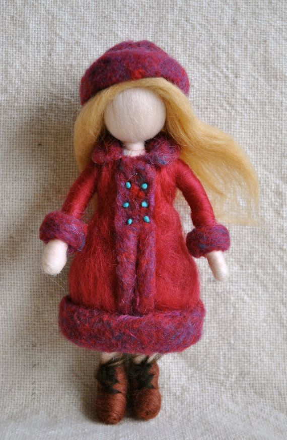 Waldorf inspired needle felted doll : The girl in the red coat. $48.00, via Etsy.