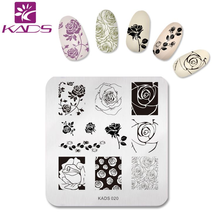 KADS YENI 2016 Zarif Gül Çiçek Nail Art Damga Damgalama Plakaları Tırnak Baskı Şablonu Kadınlar için Lehçe Stencils Güzellik Dekorasyon