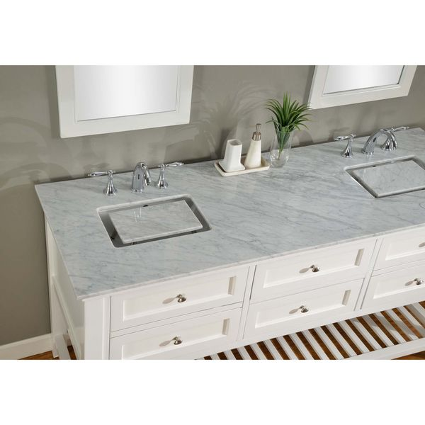 Direct Vanity 70 Inch Pearl White Mission Spa Double Vanity Sink Cabinet    Overstock™