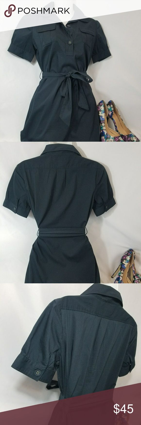 """Navy Banana Republic Petites Dress Size 0 Navy Banana Republic Petites Dress Size 0. Ties around the waist and buttons down the front. Like new, no flaws. Shoes not included but they are for sale in my closet.   Chest 17.5"""" Length from top of shoulder to hem line 33"""" Banana Republic Dresses Midi"""