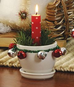 Use metallic pipe cleaners and jingle bells to dress up tiny plant pots for the holidays.
