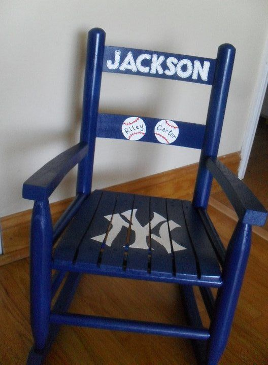 Items Similar To Child Rocking Chair  Kid Rocking Chair  Small Rocker   Baseball  Personalized Hand Painted Rocking Chair On Etsy
