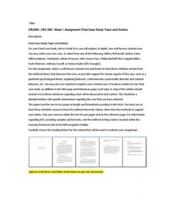 CRJ308   CRJ 308   Week 1 Assignment Final Case Study Topic and Outline --> http://www.scribd.com/doc/148413858/crj308-crj-308-week-1-assignment-final-case-study-topic-and-outline