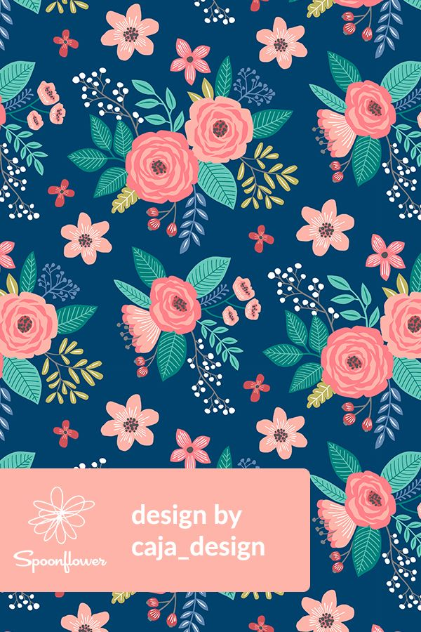 Colorful Fabrics Digitally Printed By Spoonflower Vintage Antique Floral Flowers On Navy Blue Floral Print Wallpaper Flower Illustration Flower Drawing Tumblr