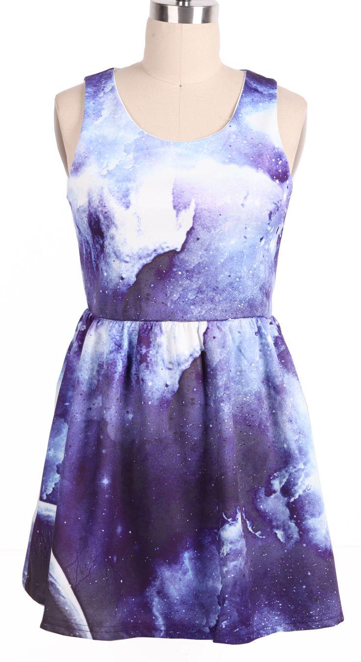 Purple Round Neck Sleeveless Pleated Galaxy Dress