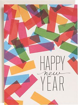 Colorful Confetti New Year Cards Set of 10 $16.95 at #Papersource A shower of colorful confetti creates a wonderfully festive New Years card design. Cards are flat printed on recycled paper. From Snow & Graham. Inside message: wishing you a bright New Year.