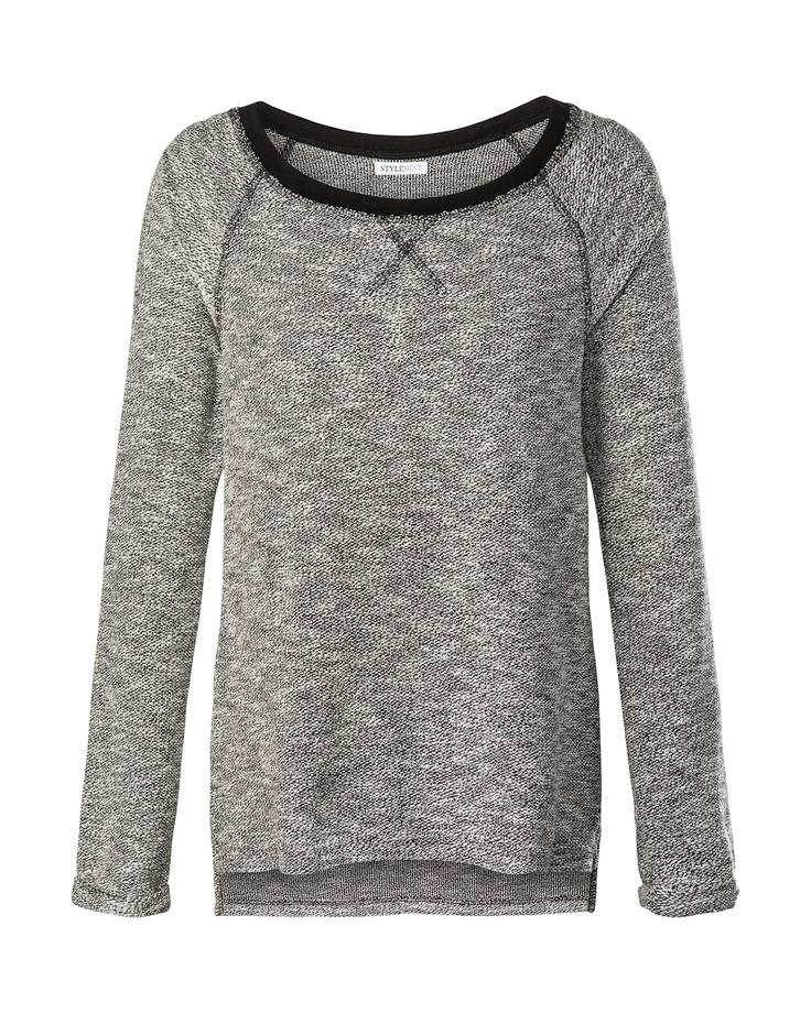 Round neck, long sleeve sweatshirt. Available in black ...