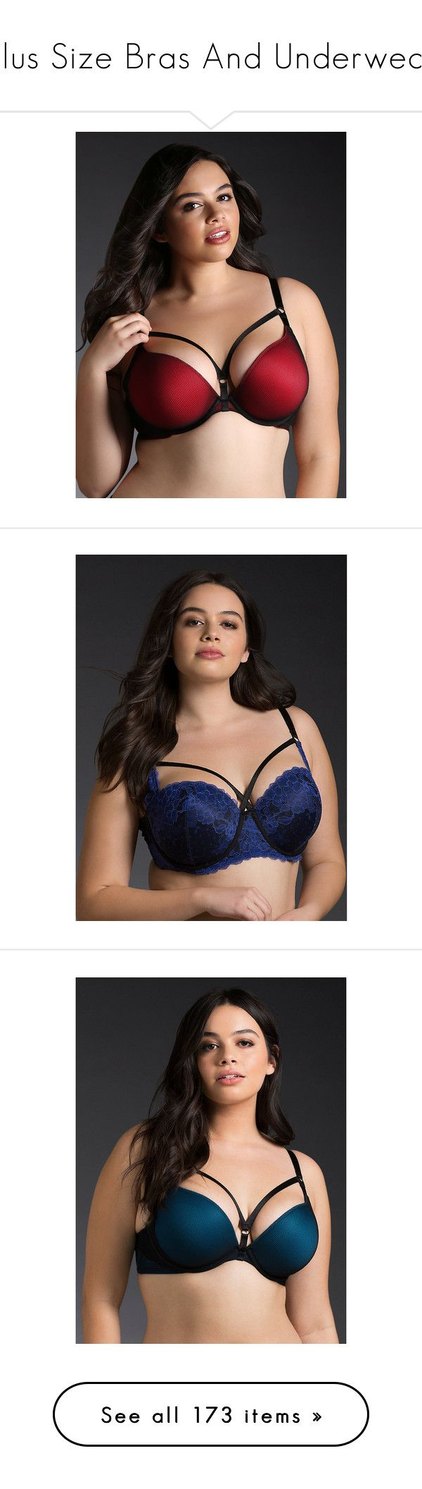 """Plus Size Bras And Underwear"" by chrissy-cdm ❤ liked on Polyvore featuring plus size women's fashion, plus size clothing, plus size intimates, plus size bras, red, sexy lace bra, red push up bra, push up bra, push-up bra and sexy red bra"