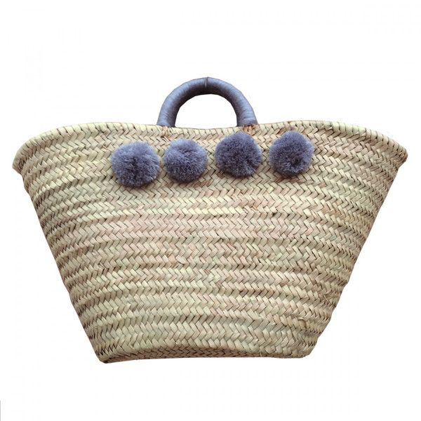 Wicker Basket With Pom Poms : Market basket with grey pom poms and wrapped handles