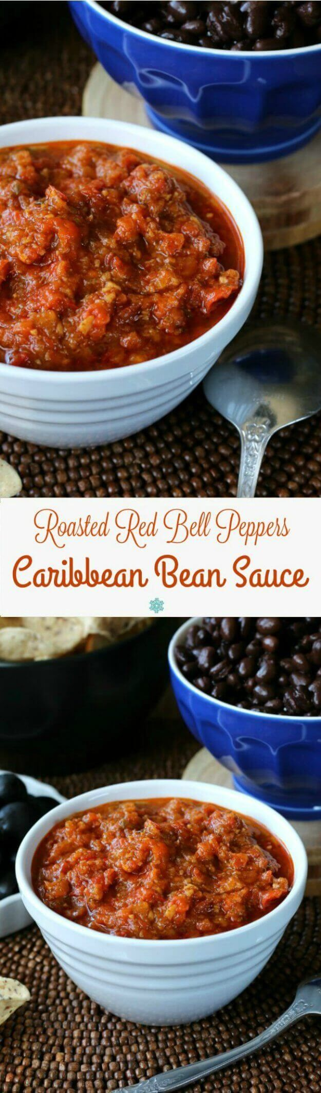 Roasted Red Bell Peppers Caribbean Bean Sauce is so unusual but a must have for your condiment list. Traditionally served with beans but is a great dip too. ~ http://veganinthefreezer.com