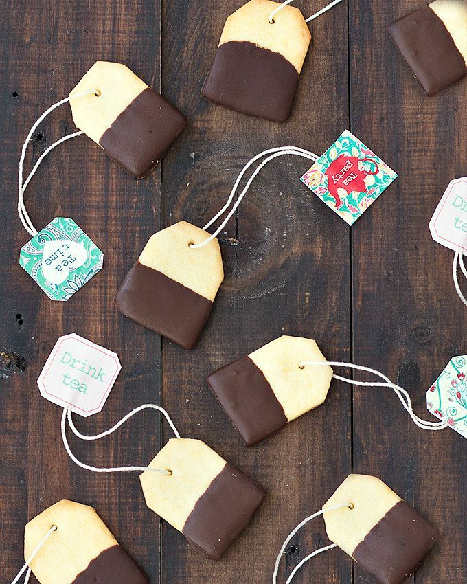 Chocolate Dipped Shortbread Tea Bag Cookies: Edible tea bags > real tea bags.  Get the recipe from As Easy As Apple Pie.