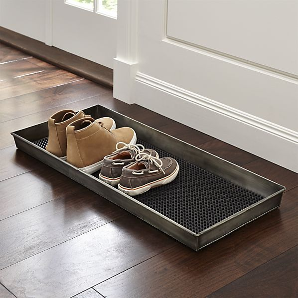 Zinc Boot Tray with Liner 2 for under mudroom bench $39.95 crateandbarrel.com