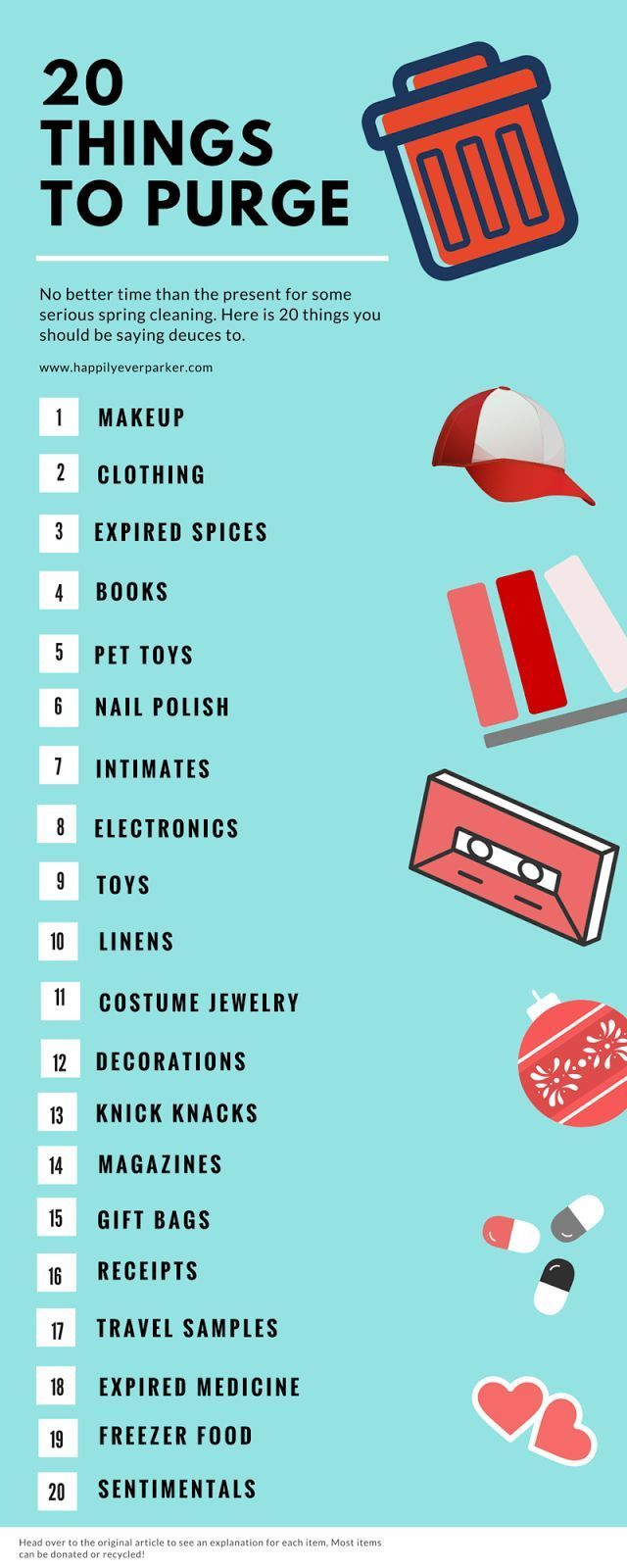 Happily Ever Parker: 20 Things to Purge, organize, organization, cleaning tips, spring cleaning
