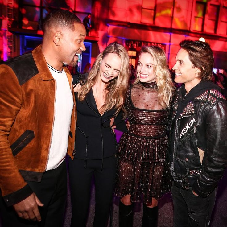 Suicide Squad cast Will Smith, Cara Delevingne, Margot Robbie, and Jared Leto
