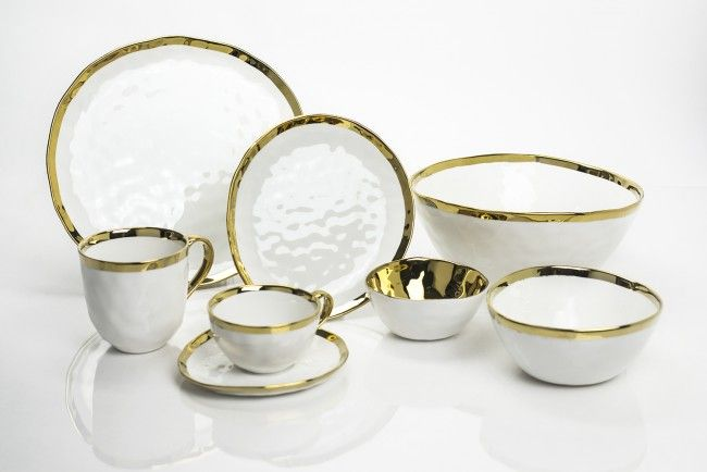 Bone China Dinnerware Collection with Gold Trim