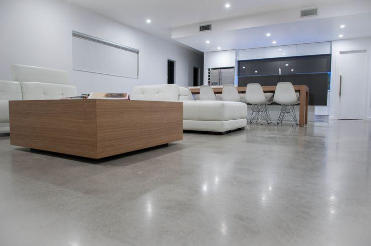 light, burnished concrete floor: pretty good but lighter please