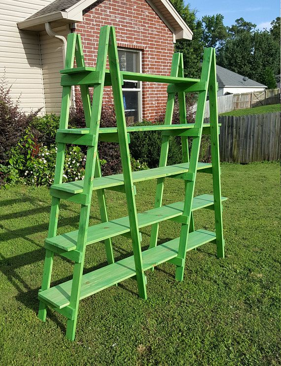 Double Ladder Shelf - 6 ft - Wood Ladder - Craft Show Display - Decorative Ladder - Portable Display - Wood Ladder Shelf