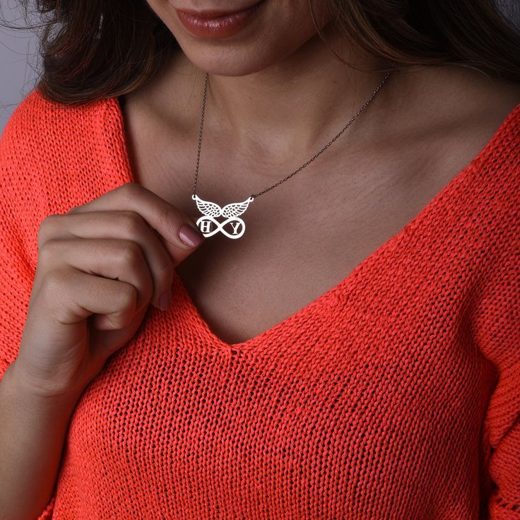 Angel Wings Initial Necklace, Personalized Infinity Jewelry, Anniversary Gift for Girlfriend, Silver Infinity Pendant, Minimalist Wings Jewelry