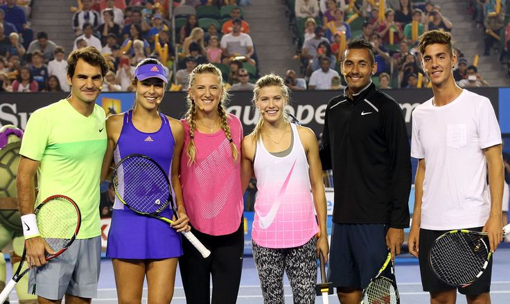 (L-R) Roger Federer of Switzerland, Ana Ivanovic of Serbia, Victoria Azarenka of Belarus, Eugenie Bouchard of Canada, Nick Kyrgios of Australia and Thanasis Kokkinakis pose following the Rod Laver Arena Spectacular as part of Kids Tennis Day ahead of the 2015 Australian Open at Melbourne Park on January 17, 2015 in Melbourne, Australia.