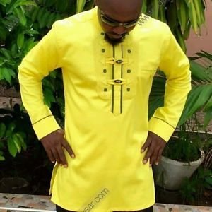 Odeneho-Wear-Men-039-s-Polished-Cotton-Top-Ankara-amp-Embroidery-African-Clothing
