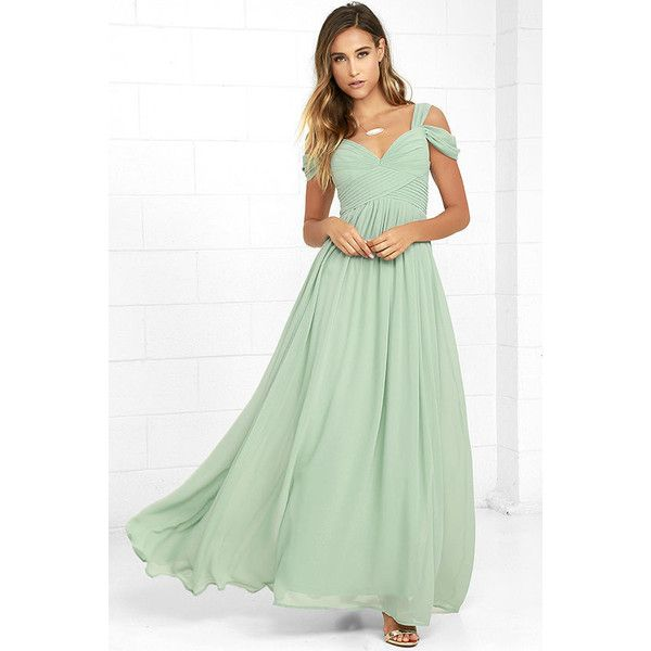 Make Me Move Mint Green Maxi Dress (£73) ❤ liked on Polyvore featuring dresses, green, ruched maxi dress, mint green dress, pleated maxi skirts, empire waist maxi dress and mint maxi skirt