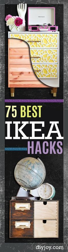 IKEA Hacks and DIY Hack Ideas for Furniture Projects and Home Decor from IKEA - Creative IKEA Hack Tutorials for DIY Platform Bed, Desk, Vanity, Dresser, Coffee Table, Storage and Kitchen Decor diyjoy.com/...