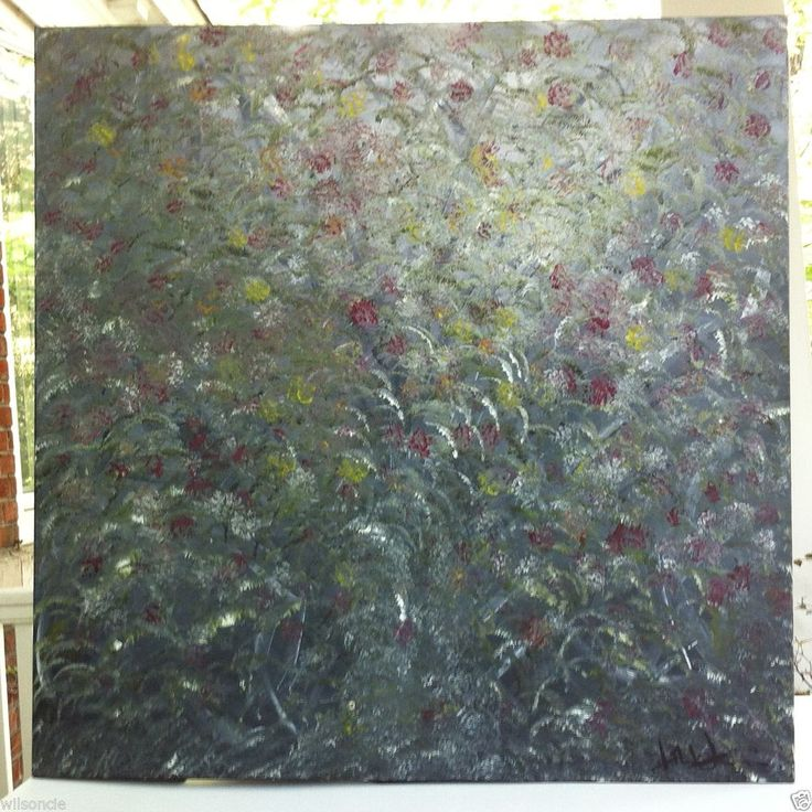 Original Abstract Oil Painting Artwork Wild Rose Bush by Des Rosiers 30 x 30