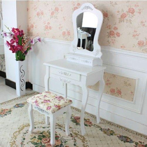 Kaptafel set met kruk, Lotus  - Inspiratie / ideeën voor in huis.  - Kaptafel set / Make up tafel set  - Met kruk en bijpassende spiegel  - Victoriaanse stijl  - Ruimte om je make-up, sieraden en meer op te bergen/ stijlvol organiseren en opbergen - Neemt weinig ruimte in beslag.