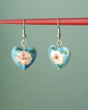 Cloisonne heart earrings