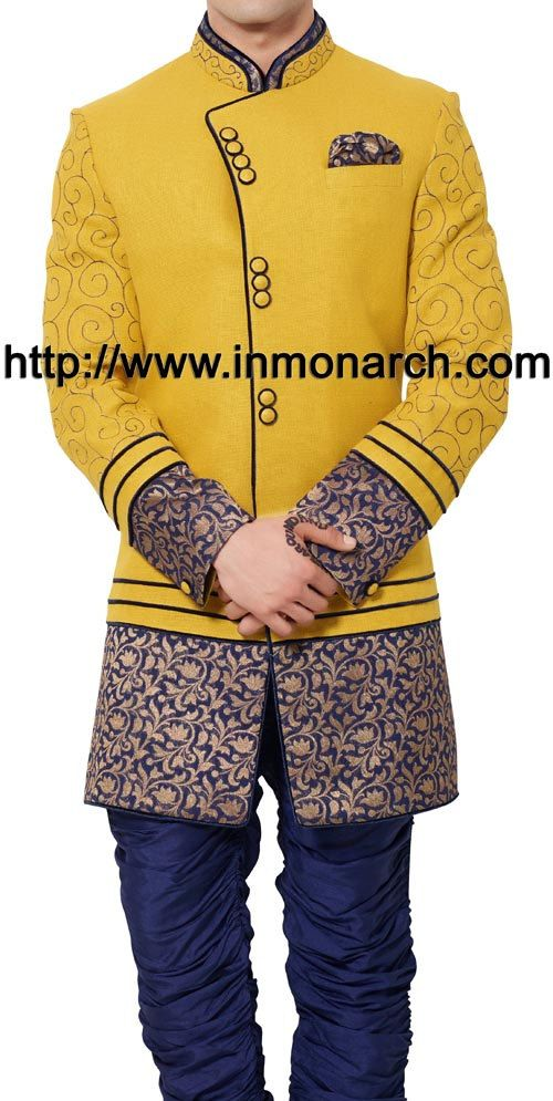 INMONARCH Mens Angrakha Pattern Yellow Linen Indo Western IN471
