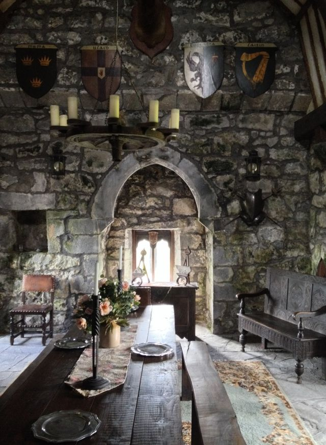 This is a perfect example of medieval interior, with the simple but elegant tables and chairs, the beautiful candle lit chandelier and the cobbled walls brings out the historical theme of this castle.