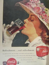 """Vintage Coca Cola 1949 KENTUCKY DERBY HAT Ad Store Sign """"REAL REFRESHMENT"""""""