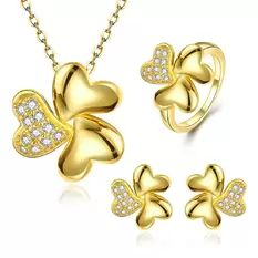 Party Tin Alloy Earrings Ring Necklace Bridal Jewelry Sets Plant 24K Gold Plated…