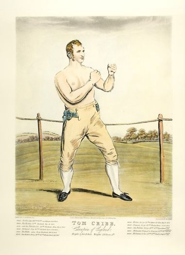 BOXING. HUNT, G.E.O after J. JACKSON. Tom Cribb.  Contemporary restrike engraving with later hand colour, 21st C. #boxing