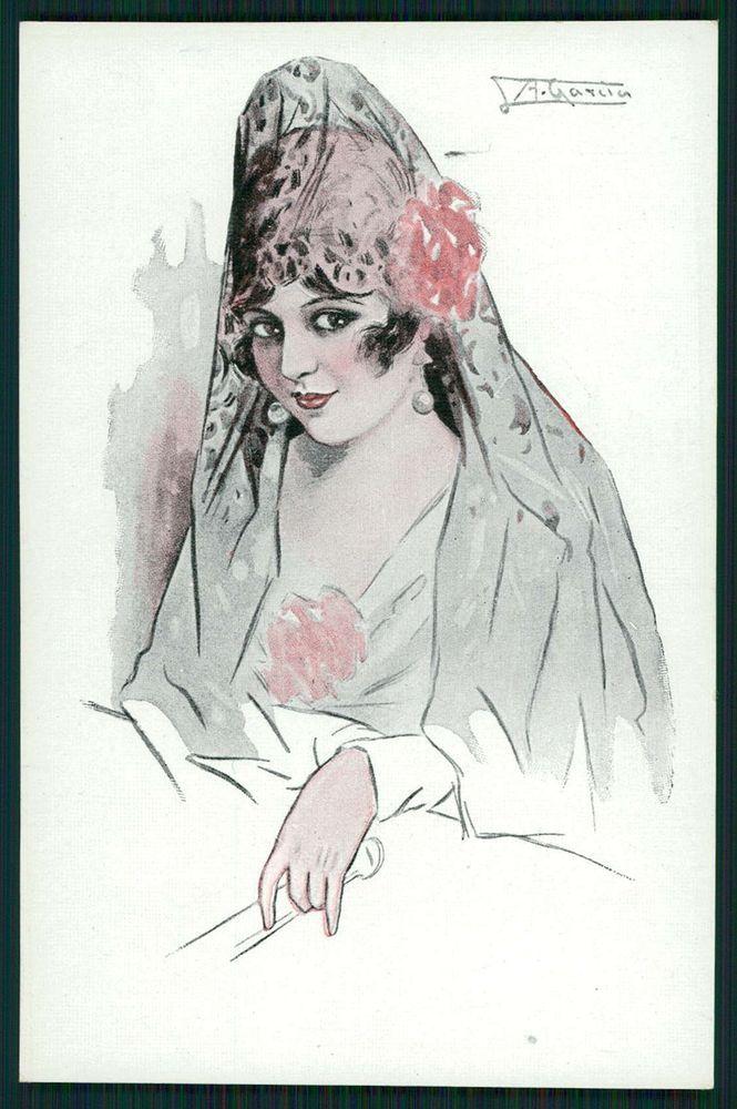 art Gutierrez Spanish Lady Flamenco Dancer Hairdo original 1910s postcard c