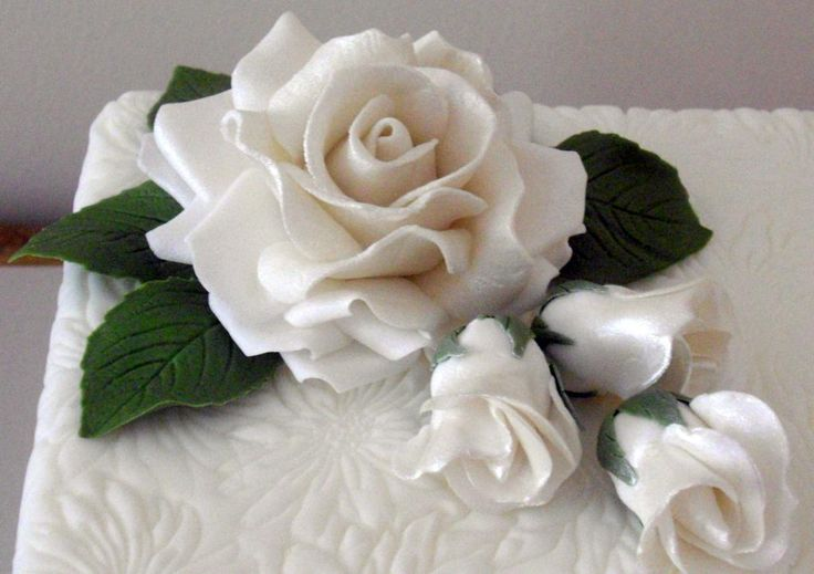 Life size rose on textured cake