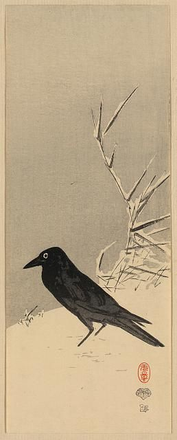 "??? - Artist - ??? - Poem - ""The way a crow, Shook down on me, The dust of snow,  From a hemlock tree, Has given my heart, A change of mood, And saved some part, Of a day I had rued"".  Dust of Snow by Robert Frost"