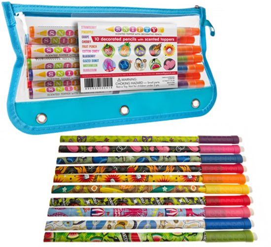 SNIFTY PENCIL TOPPER 10 PACK IN ZIPPERED POUCH