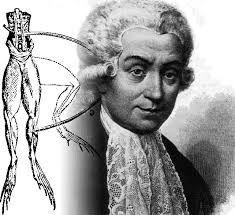 """1786, Luigi Galvani trabajaba sobre las patas de una rana cuando asistente comenzó a girar máquina eléctrica en la misma mesa.Cuchillo de disección tocó uno de los cables de la máquina y   las ancas de rana comenzaron a patear. """"Si una carga eléctrica puede hacer que las patas de una rana muerta actúan como si estuvieran vivas"""",pensó,""""la electricidad debe ser lo que nos hace vivir""""."""