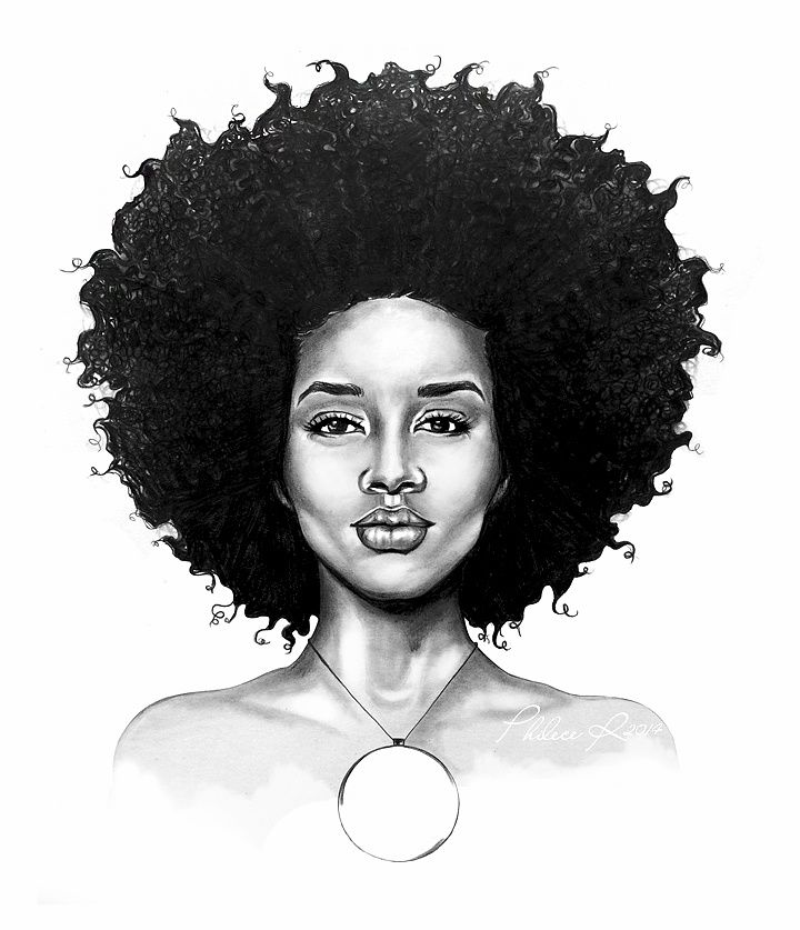 how to draw afro american hair