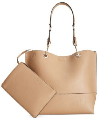Calvin Klein Reversible Tote With Pouch / Nude or Luggage or Gray