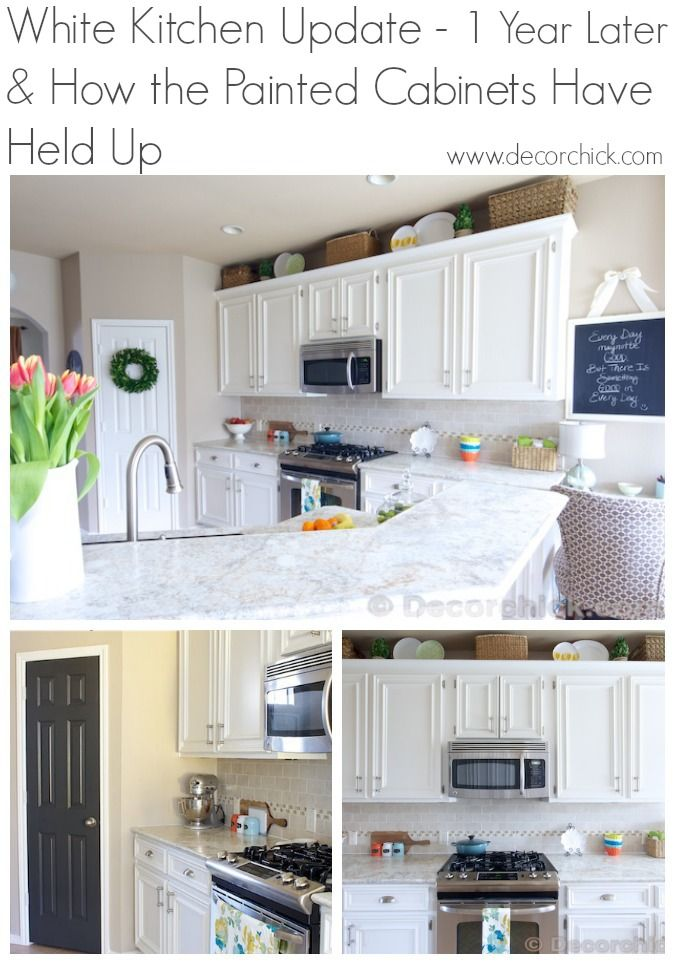 White kitchen update 1 year later and how the painted for Update white kitchen cabinets