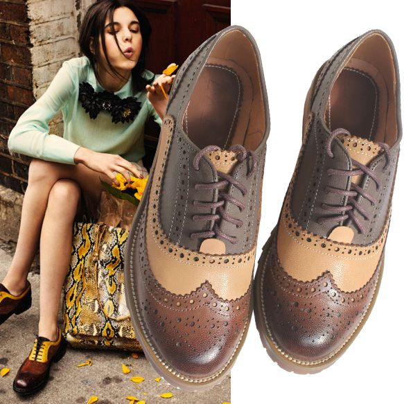 Aliexpress.com : Buy 2014 Flats Oxfords Women's Brogues Shoes Genuine Leather Flat Cut out British Wing Tip Freeshipping from Reliable leath...