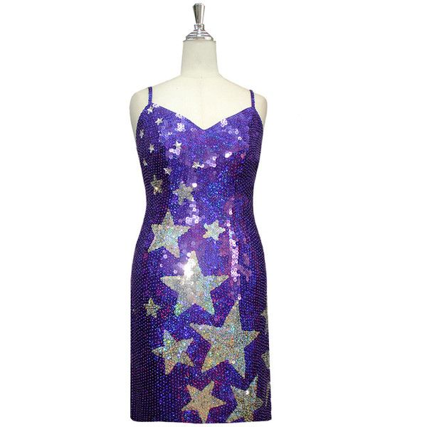 Short Star Patterned Handmade Purple and Silver Sequin Dress (€205) ❤ liked on Polyvore featuring dresses, purple sequined dresses, purple dresses, short sequin dress, star pattern dress and star print dress
