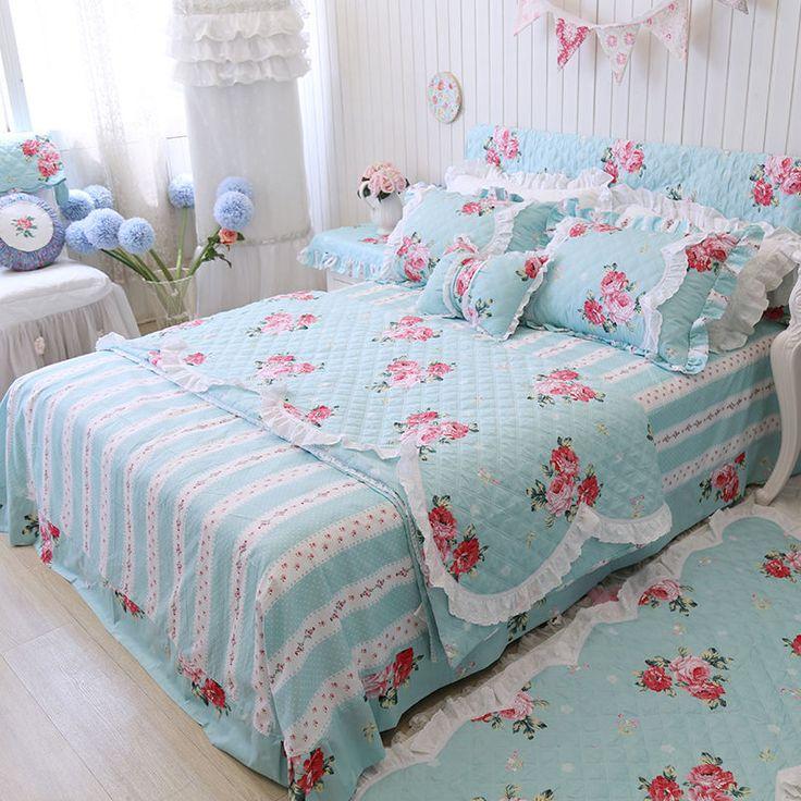 korean blue floral duvet cover 100 cotton designer bed set rustic bedding fadfay