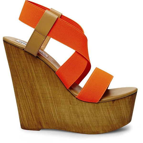 Steve Madden Women's Gandy Platform Wedges ($40) ❤ liked on Polyvore featuring shoes, sandals, heels, wedges, orange, fringe heel sandals, orange wedge sandals, wood platform sandals, wedge heel sandals and steve-madden shoes
